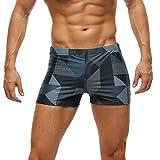 Arcweg Costume da Bagno Uomo Boxer con Pad Rimovibile e Coulisse Pantaloncini Calzoncini da Bagno Elastico a Vita Bassa Boxershorts Motivo Geometrico 3XL