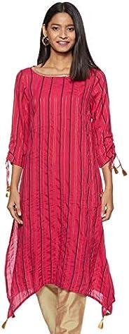 Aurelia Women's Rayon Asymmetrical Hemline Kurta (19AUA11124-700502_Pink_Med