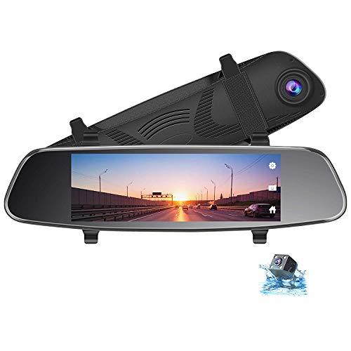 TOGUARD Caméra de recul 20,3cm Miroir Dash Cam, écran Tactile Double lentille Vue arrière Avant 1080p 720p Caméra de recul G-Sensor Moniteur de stationnement