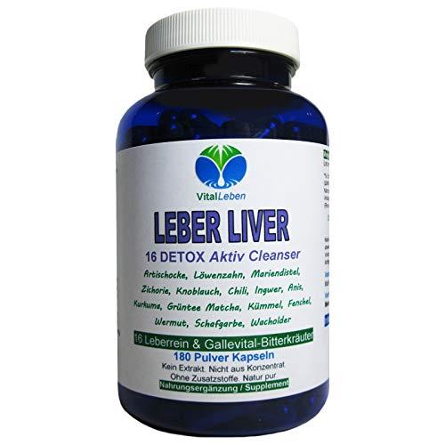 Leber Liver 16 Reinigungskräuter DETOX Aktiv Cleanser Leberrein & Gallevital 180 Kapseln   16 Bitterkräuter für Leber- & Fettstoffwechsel in EINEM   NATUR PUR   26555-180 -