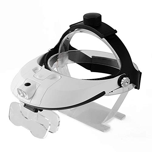 Carl Artbay Nagelneu, hohe Qualität 1.0X1.5X2.0X2.5X3.5X Portable Lupe mit LED-Licht zur Wartung der Uhr Lesen Lesen Chirurgische Lupe und Wechselobjektiv Weiß HD tragbar -