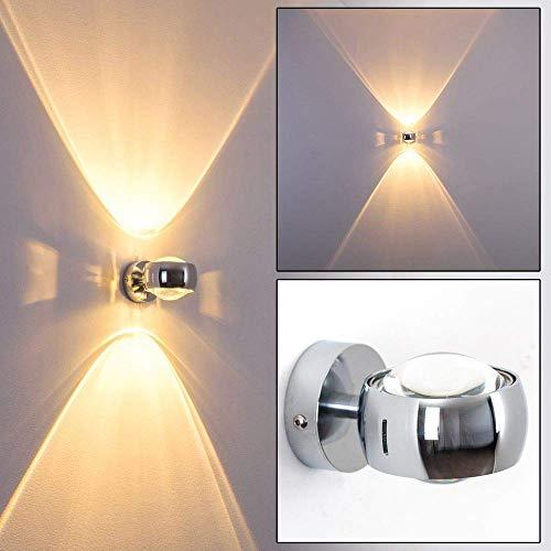 Wand-Lampe Sapri - halbrund Designer-Effektlampe mit Schlitzen in modernem Chrom - die Wandbeleuchtung funktioniert mit LED oder Halogen