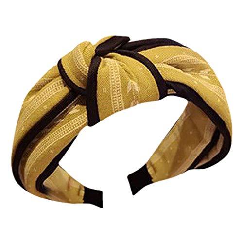 Dorical Haarband Yoga Headband Hairband Damen Stoff Haarreif mit Schleife-Vintage-Wunderschön Stirnband,Haarschmuck Haarreif mit Schleife-Vintage-Wunderschön Stirnband (One Size, Z001-Gelb)