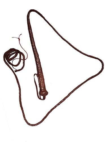 ang–Deluxe echtem Leder–braun geflochten mit Gürtelschlaufe Griff und rot Spitze (Adult Deluxe Indiana Jones Kostüme)
