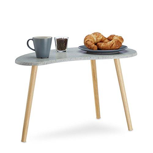 Relaxdays Beistelltisch Grau für Wohnzimmer, Kleiner Kaffeetisch, Nierentisch 3-beinig,...