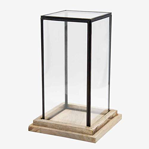 Better & Best 1363264 Urna cristal cuadrada base madera y filo óxido