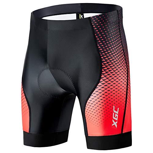 Herren Kurze Radlerhose und Radunterhose Radsportshorts Fahrradhose für Männer elastische atmungsaktive 4D Schwamm Sitzpolster mit Einer hohen Dichte (XL, Black_Red)