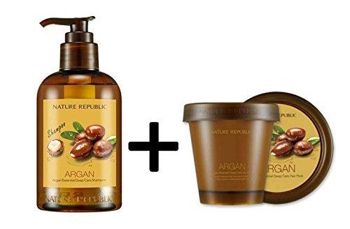 [natur Republik] Argan Essential Deep Care Shampoo 300ml + Hair Pack 200ml Set