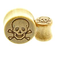 Body Jewellery Shack -BUY ONE GET ONE FREE- Wood Ear Plugs Wooden Smooth Flesh Tunnels Ear Stretching Carved Skull and Crossbones Pirate Flag 10mm-12mm-14mm-16mm-18mm