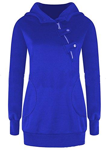 Ghope Femme Printemps Automne Mode Sweat À Capuche Sweatshirt Avec Cordon De Serrage Hoodies Blouse Tops Bleu