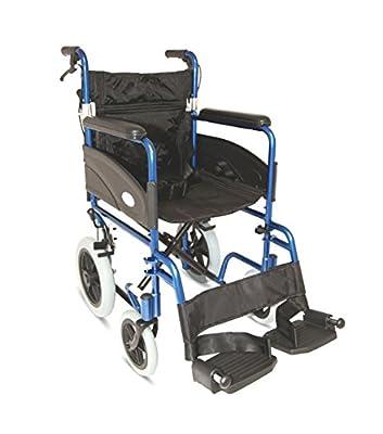"Z-Tec Folding Aluminium Transit Wheelchair, Attendant Handbrakes (20"" Wide)"