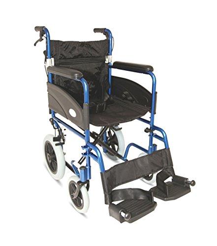 Wide Rollstuhl (Z-Tec Faltbarer Transport-Rollstuhl aus Aluminium, mit Handbremsen (50 cm breit))