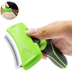 Jamisonme Deshedding Tool para Dog Cat, peine curvado con botón de autolimpieza Cepillo de aseo para mascotas con cuchilla de recorte - Reduce eficazmente el desprendimiento de desechos hasta en un 95%, adecuado para limpieza de cabello mediano o largo (n.º 2)