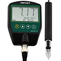 AMTAST Portable pH Meters for Meat Fruit Drinks Food pH Testing with Stainless Steel Penetration Blade pH Probe, Range 0~14Ph, Temp 0~100°C