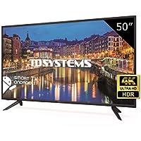 TD Systems K50DLH8US - Televisor Led 50 Pulgadas Ultra HD 4K Smart, resolución 3840 x 2160, HDR10, 3X HDMI, VGA, 2X USB, Smart TV.