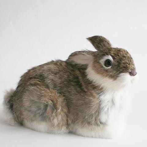 Sentado Conejo 'Mukki'–Animales en miniatura de pelo auténtico