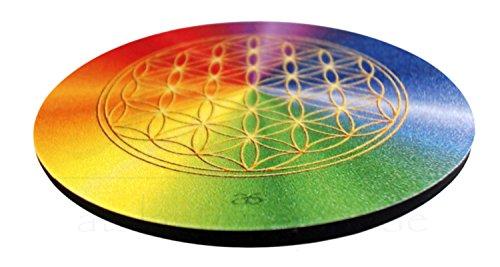 atalantes spirit - Blume des Lebens-Untersetzer für Gläser – 6 Stück im SET - Motiv: rainbow - Größe: 9,5 cm – Lebensblume-Symbol – alle Chakren