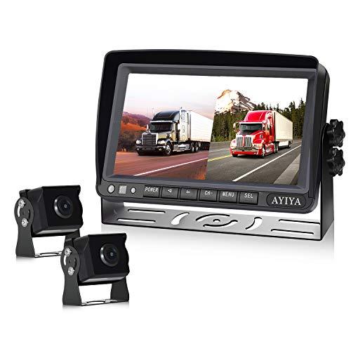 """Dual Recording Rückfahrkamera-Set, mit 7\"""" Split IPS LCD Kfz-Monitor, 2 * 175° Weitwinkel - Rückfahrkameras, HD Farbe Nachtsicht, für LKW/Anhänger/Bus/Van/Landwirtschaft(12-35 Volt)"""