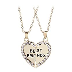 Hustar 2 Piece Broken Heart Alloy Pendant Necklace Best Friends Pendant Friendship Necklace Gold