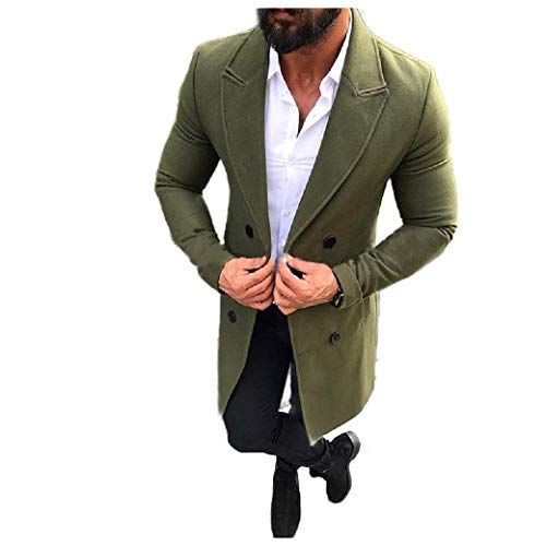 CuteRose Men's Slim Double-Breasted Woolen Fall Winter Trench Overcoat Army Green M Wool Blend Trench