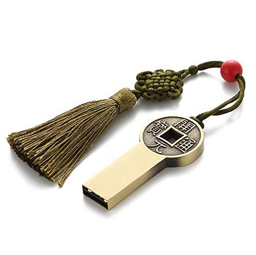 USB-Stick Flash Drive Speicherstick Chinesischer Stil Metall U Festplatte 4/8/16/32/64 / 128GB Schnelle Geschwindigkeit Tragbar Passend für Computer Auto Klingen (64GB, Barren)