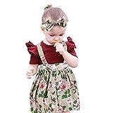 JUTOO Baby Kleinkind Mädchen 3 Stücke Set Kinder Overalls Rock + Stirnband + Strampler Kleidung Outfits (Beige,80)
