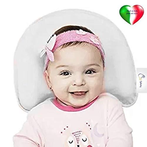 Lullaby Coussin bébé en 100% LATEX naturel pour la prévention et traitement de la tête plate - Hypoallergénique et antibatterico- avec taie d'oreiller en 100% coton bio