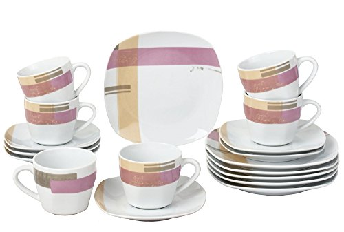 Retsch Arzberg Como Kaffeeservice 18 teilig eckig für 6 Personen / Porzellan / modern dekoriert