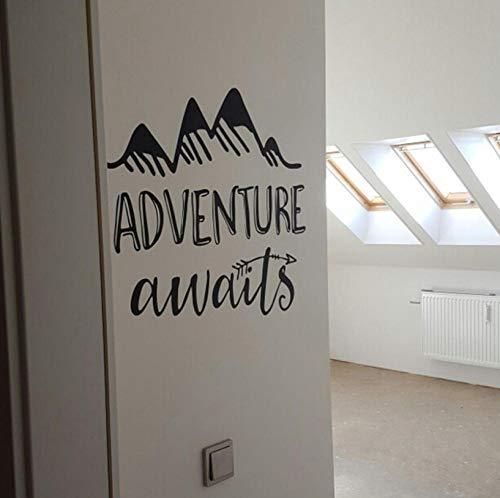 Abenteuer erwartet Vinyl Wall Decal Diy Kunst Kinderzimmer Zitat abnehmbare Aufkleber Pfeile Berge Explorer Natur moderne Kinderzimmer Abziehbilder Aufkleber Dekor