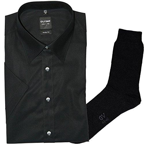 OLYMP Herrenhemd LEVEL FIVE, Body fit, kurzarm, New York Kent, schwarz + 1 Paar hochwertige Socken, Bundle Schwarz