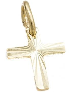 ASS 333 Gold Erst-Kommunion Taufe Kinder ANHÄNGER Kreuz im Set mit Gold Double Venezianer Kette 42cm
