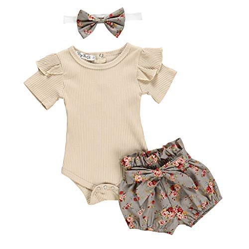 LEXUPE Neugeborene Kinder Baby Mädchen Outfits Kleidung Strampler Bodysuit + Flower Print Shorts Set(Khaki,90)