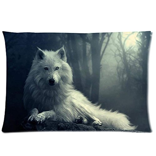 WYICPLO New Outlet-Seller Custom Zipper Brave Wolf Pillowcase Covers Standard 20 inch X 20 inch