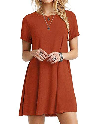 YOINS Sommerkleid Damen Tunika Tshirt Kleid Bluse Kurzarm MiniKleid Boho Maxikleid Rundhals Orange EU36-38, M - Orange Kleid Sommerkleid
