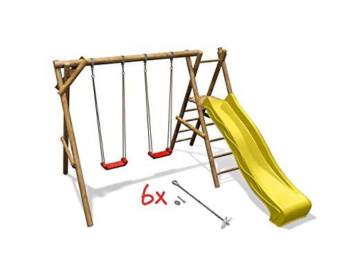 Doppelschaukel Lea mit Podest Kinderschaukel Schaukelgestell Holz, Rutsche wählen:gelbe Rutsche, Sicherheit wählen:6x Bodenanker