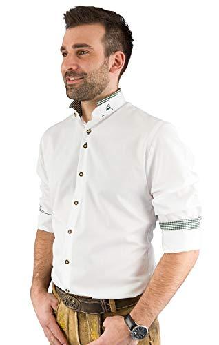 Arido Trachtenhemd Herren 2624 255 Baumwollhemd Weiß Grün Kariert Hemd Stehkragen Slim Fit Freizeit Shirt - 43