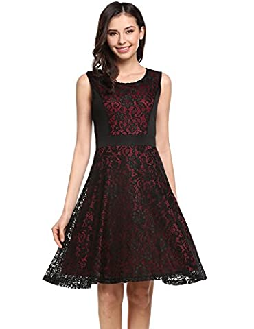 Meaneor Women Casual O-Neck Sleeveless Floral Lace Patchwork Contrast Color