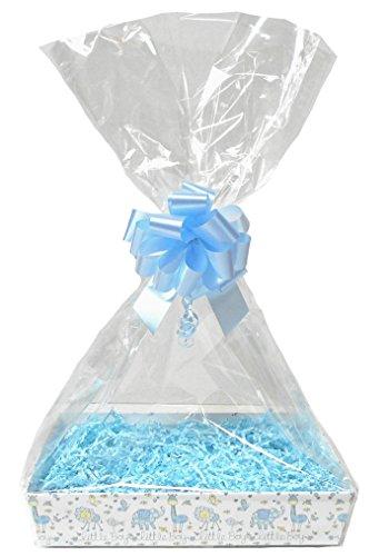 nk Korb Kit-Little Boy Karton Tablett, blau Shred, blau Schleife, Cello Tasche & Blau Geschenkanhänger (Medium-30x 20x 6cm hoch) ()