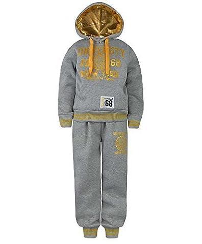 Enfants University Survêtement Haut À Capuche Bas De Jogging Fille Garçons Costume 2 Pièces - Gris/Or, 3-4 ans