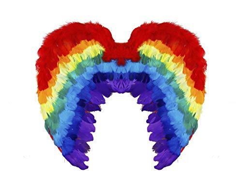 ILOVEFANCYDRESS Federflügel Zubehör - Perfekt für Gay Pride Month -  Mehrfarbig -  Einheitsgröße (Weiß Gefiederte Engelsflügel)