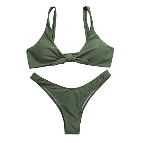Fuibo Bikini, Frauen verknotet Padded Thong Bikini Mitte Taille Scoop Badeanzug Strand Bademode [Beachwear Bikini] (Armeegrün, M) (Thong Bikini-badeanzug Side-tie)