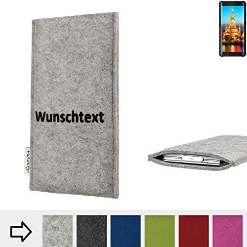 flat.design Handy Hülle Porto für Energizer H590S personalisierbare Handytasche Filz Tasche Name Wunschtext Case fair