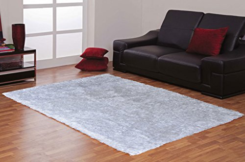AVIRA HOME WHITE SHAGGY CARPET-5x7 Feet