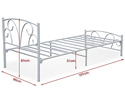 3ft White Soild Wood Single Bed Frames Wooden Single Bed Frame in White 77.9L X38.5W X32.2H inch