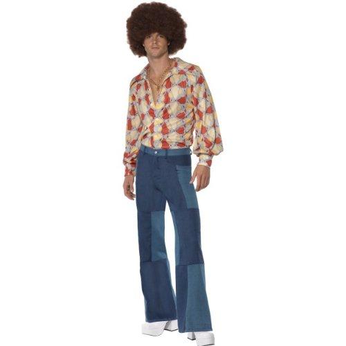 Smiffys Karneval Herren Kostüm Hose Denim Look 70er Jahre Hippie Größe L