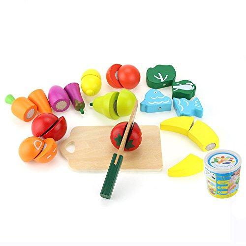 omyzam Holz Eimer Schnitt Früchte und Gemüse Spielzeug Küche Finer Shop Schneiden Spielzeug Frühe Entwicklung Spiel und Bildung Spielzeug für Baby Kids