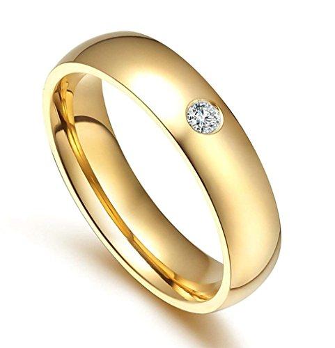 Edelstahlring Damen Ringe Gold Bandring Diamant Poliert Verlobungsring Größe 60 (19.1) - Adisaer (Kostüme Zwerg Billig)