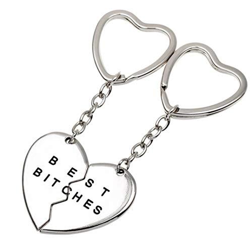 Underleaf Zwei halbe Herz-Ton-Anhänger mit besten verdammten Hündinnen graviert Mode schöne Schlüsselanhänger Silber - Zwei-ton-quaste