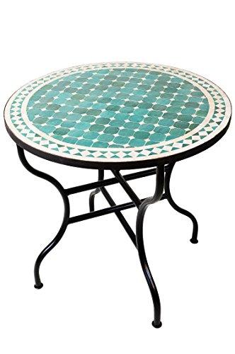 ORIGINAL Marokkanischer Mosaiktisch Gartentisch ø 80cm Groß rund klappbar | Runder klappbarer Mosaik Esstisch Mediterran | als Klapptisch für Balkon oder Garten | Marrakesch Grün Natur 80cm