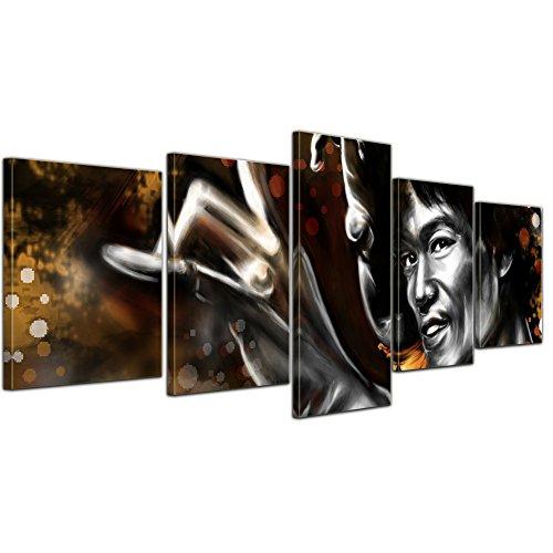 Wandbild - Bruce Lee - gelb - Bild auf Leinwand - 200x80 cm 5 teilig - Leinwandbilder - Urban & Graphic - Hollywood - China - Schauspieler - Kung Fu